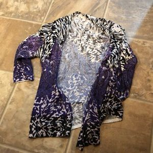 Chico's purple and black and white cardigan size 1
